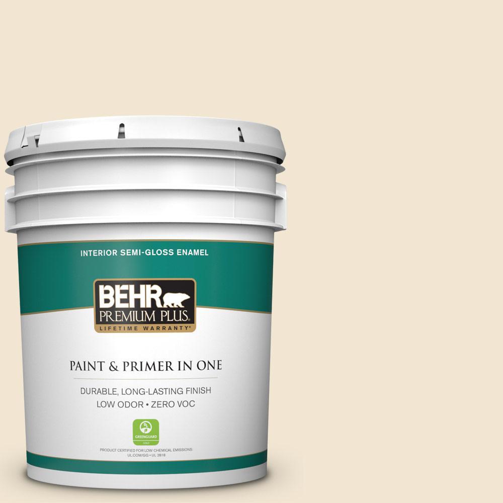 BEHR Premium Plus 5-gal. #330E-1 Informal Ivory Zero VOC Semi-Gloss Enamel Interior Paint