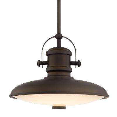 12 in. 1-Light Integrated LED Aged Bronze Pendant