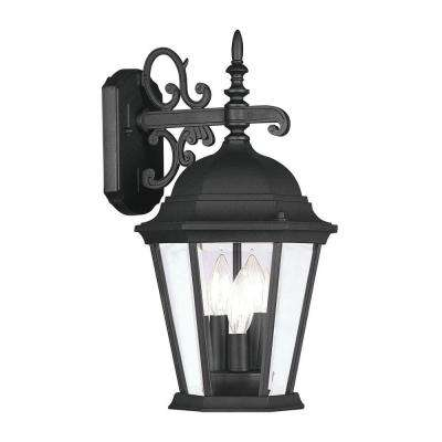 3-Light Black Outdoor Wall Lantern with Clear Beveled Glass