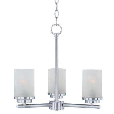 Corona 3-Light Satin Nickel Chandelier with Frosted Shade