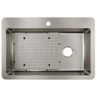 Avenue Stainless Steel 33 in. Single Bowl Dual Mount Kitchen Sink Kit