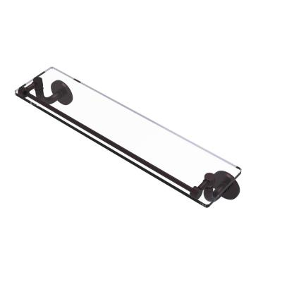 Remi Collection 22 in. Glass Vanity Shelf with Gallery Rail in Antique Bronze