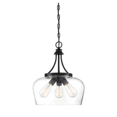 3-Light Black Pendant with Clear Glass