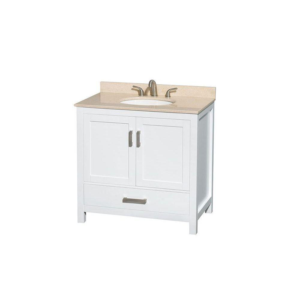 Wyndham Collection Sheffield 36 in. Vanity in White with Marble Vanity Top in Ivory