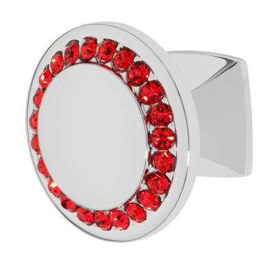 Isabel 1-1/4 in. Chrome with Red Crystal Cabinet Knob