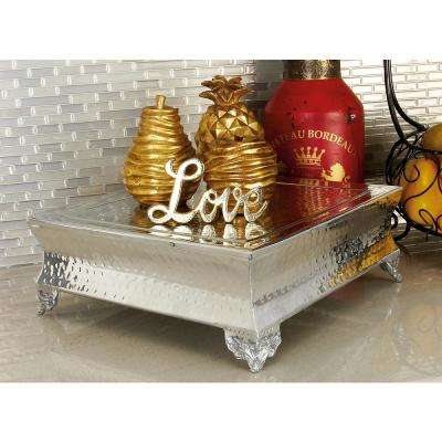 Silver-Finished Dimpled Aluminum Cake Stands (4-Pack)