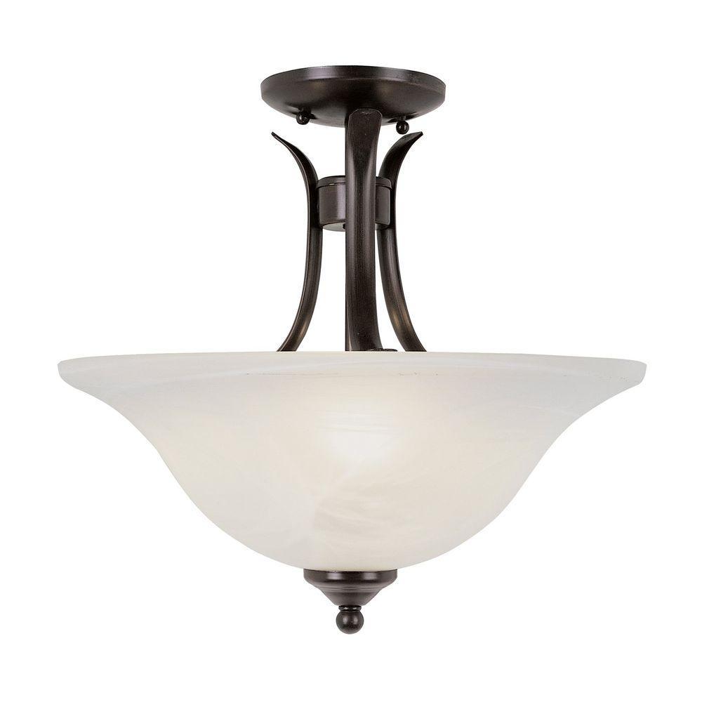 Stewart 2-Light Rubbed Oil Bronze Incandescent Ceiling Semi-Flush Mount Light