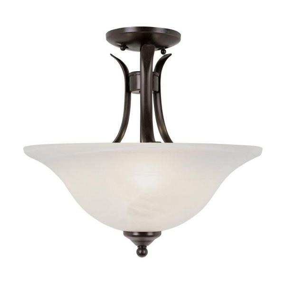2-Light Rubbed Oil Bronze Semi Flush Mount Ceiling Light