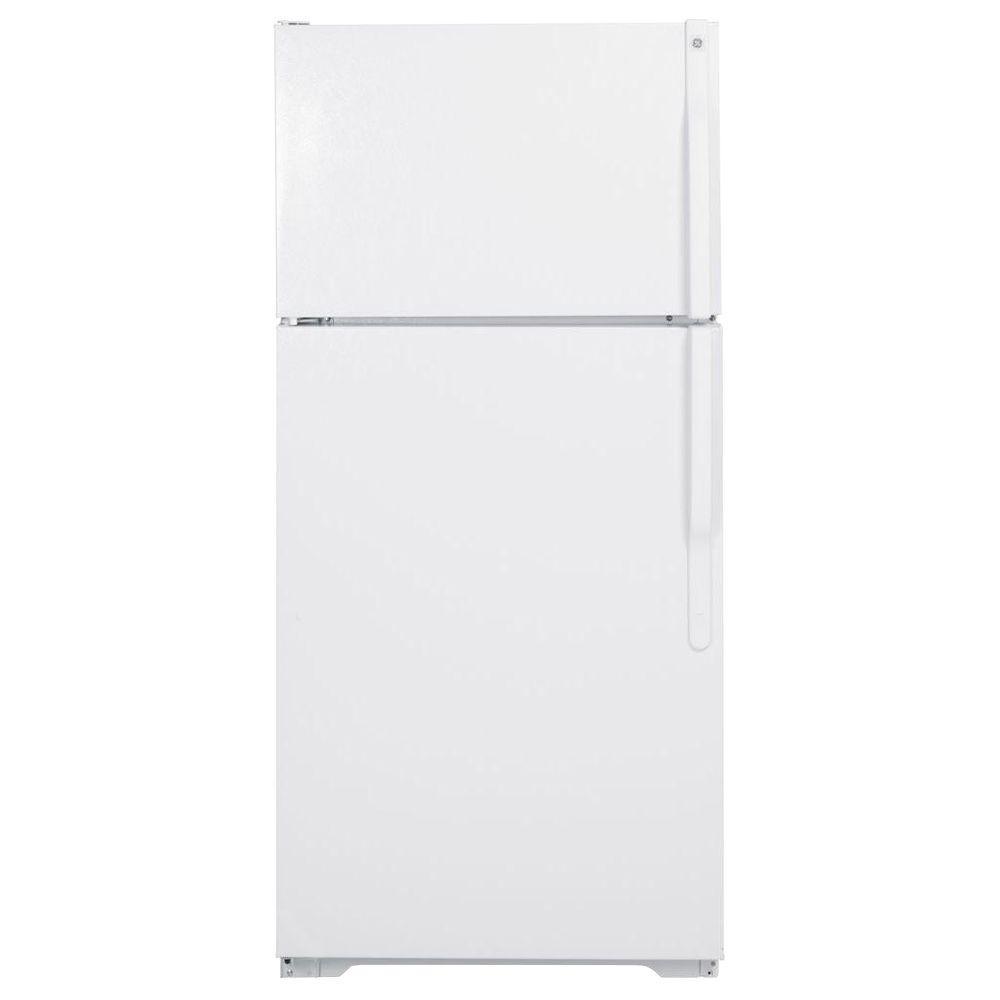 GE 28 in. W 15.7 cu. ft. Top Freezer Refrigerator in White