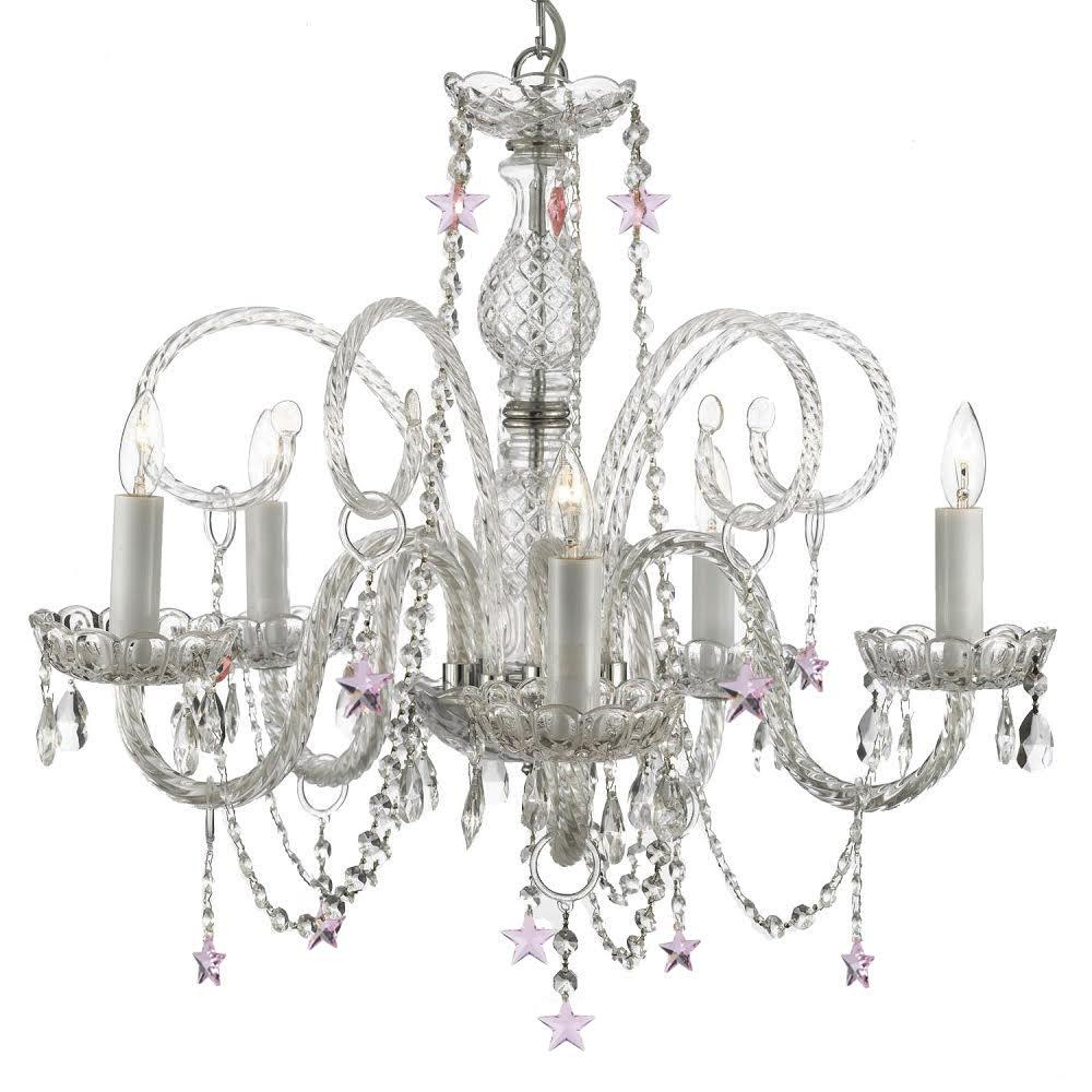 5-Light Venetian Style Empress Crystal Chandelier with Pink Crystal Stars