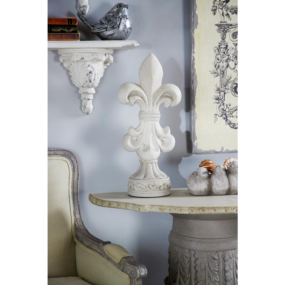 Litton Lane 21 in. Fleur-De-Lis Fiberglass Sculpture, Matte gray finish Litton Lane 21 in. Fleur-De-Lis Fiberglass Sculpture, Matte gray finish