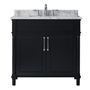 Aberdeen 36 in. W x 22 in. D Vanity in Black with Carrara Marble Top with White Sink