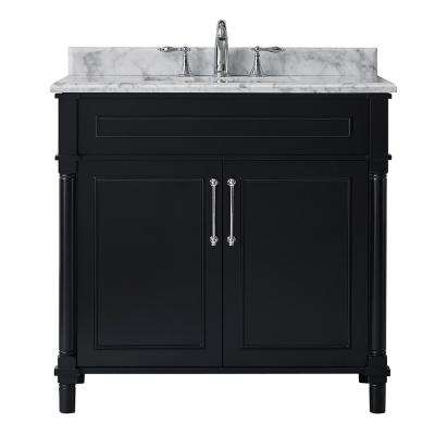 Aberdeen 36 in. W x 22 in. D Vanity in Black with Marble Top in White with White Basin