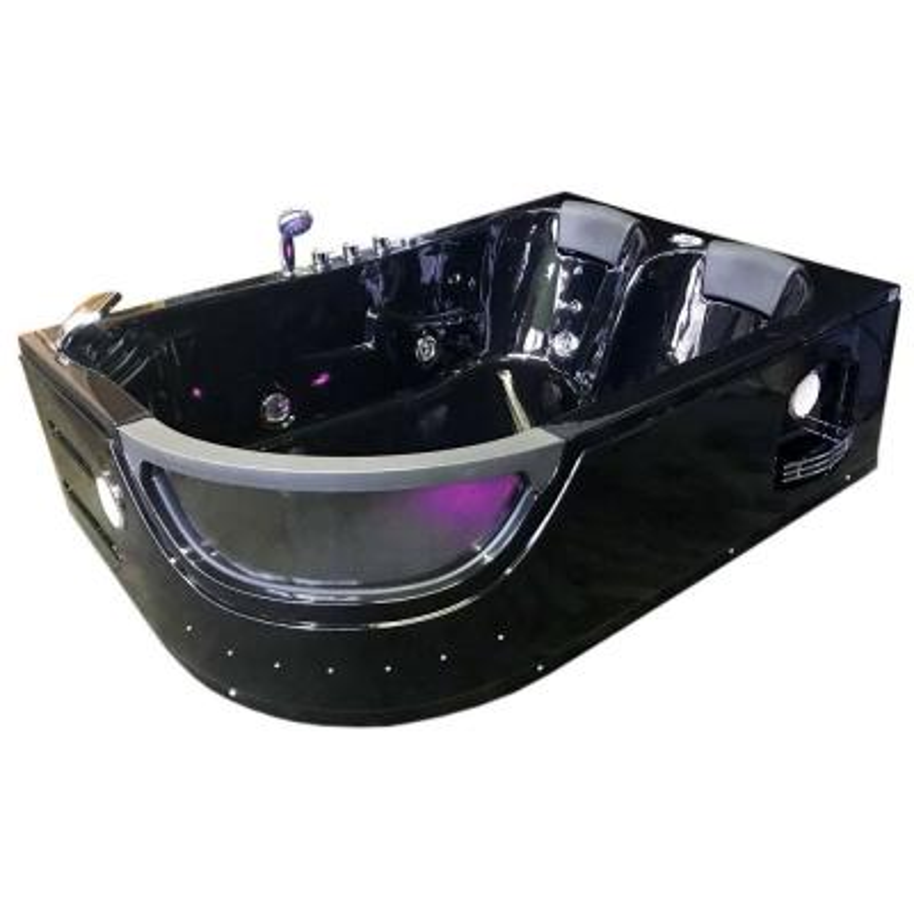 Orion 71 in. Acrylic Center Drain Rectangular Alcove Whirlpool Bathtub in Black
