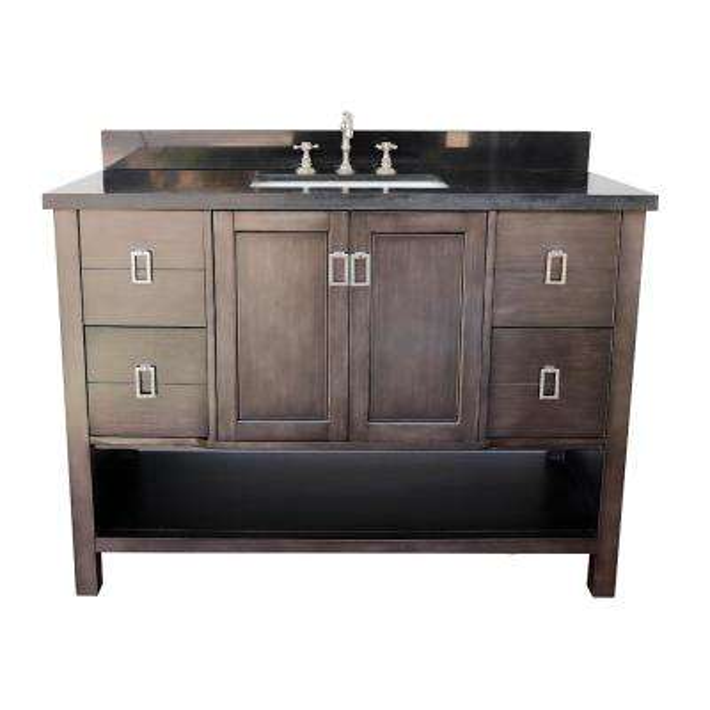 Monterey 49 in. W x 22 in. D Bath Vanity in Brown with Granite Vanity Top in Black with White Rectangle Basin