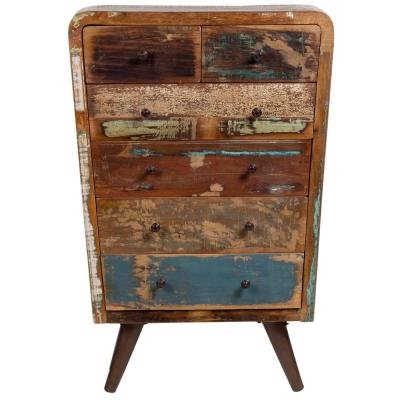 Route 66 Reclaimed 6-Drawers Multi-Colored Wood Tall Chest