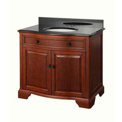 Manchester 37 in. Vanity in Mahogany with Granite Vanity Top in Black