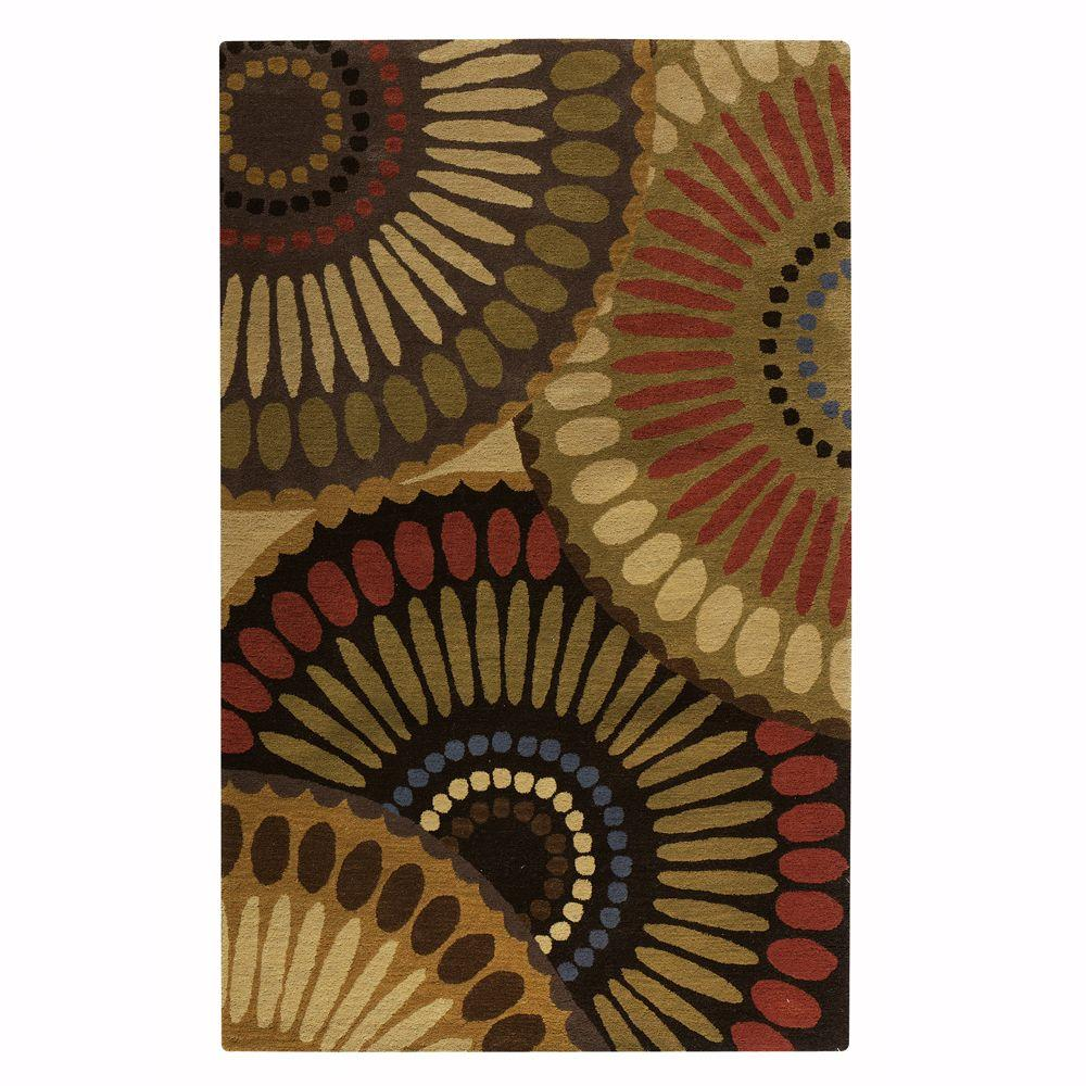 Home Decorators Collection Harmony Bronze Green and Mushroom 2 ft. 6 in. x 4 ft. 6 in. Accent Rug