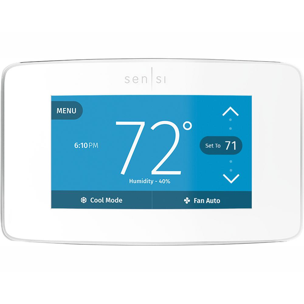 Emerson Sensi Touch Wi-Fi 7-Day Programmable Thermostat in White on