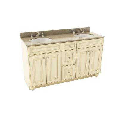 Savannah 61 in. Vanity in Hazelnut with Silestone Quartz Vanity Top in Quasar and Oval White Double Sink