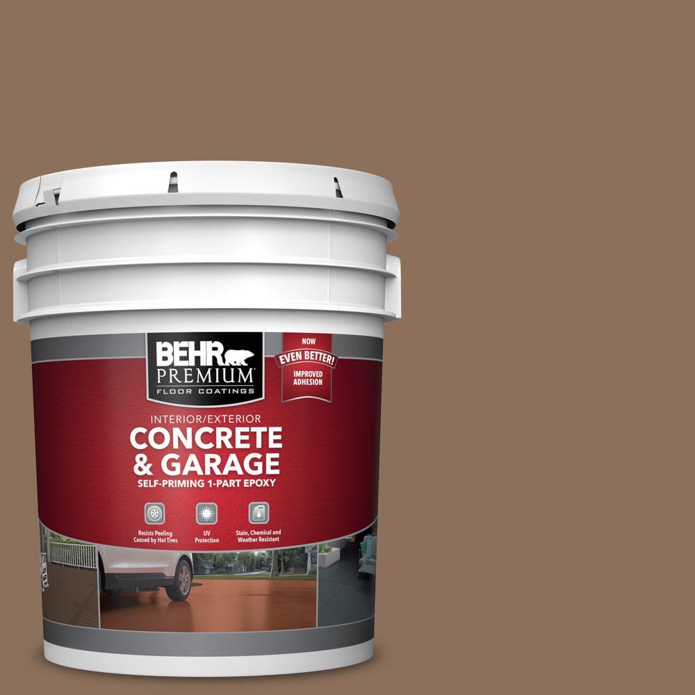 5 gal. #S240-6 Ranch Brown 1-Part Epoxy Satin Interior/Exterior Concrete and Garage Floor Paint