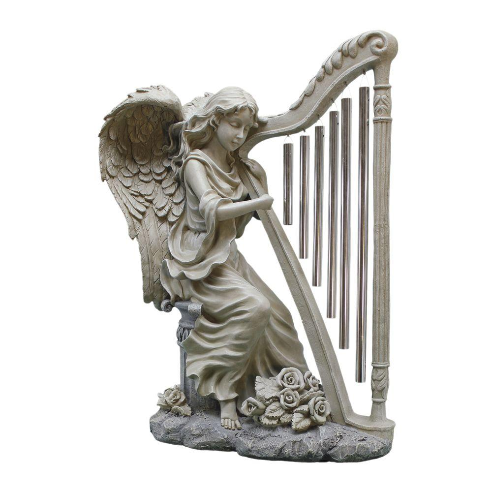 Design Toscano 6.5 in. W x 9 in. D x 14 in. H Small Music From Heaven Garden Statue-DISCONTINUED