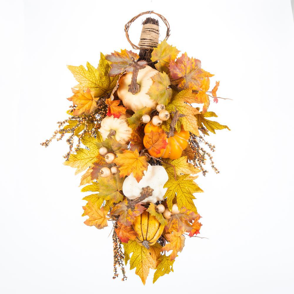 26 in. Harvest Pumpkin and Maple Leaf Teardrop