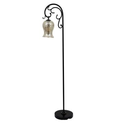 Textured 64 in. Bronze Floor Lamp with Glass Shade