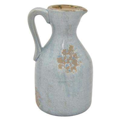 11 in. Blue Ceramic Pitcher Vase