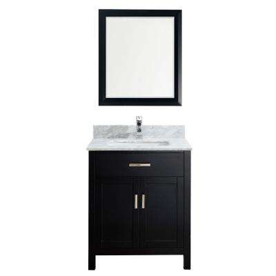 Kalize 30 in. Vanity in Espresso with Marble Vanity Top in Carrara White and Mirror