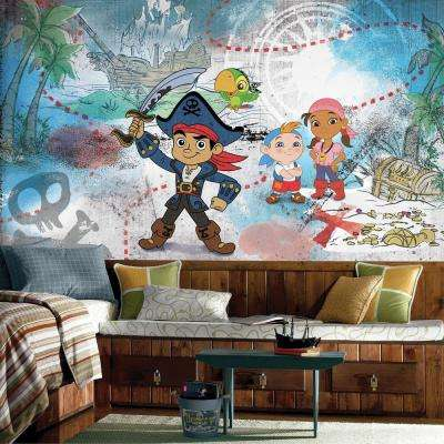 72 in. W x 126 in. H Captain Jake and the Never Land Pirates XL Chair Rail 7-Panel Prepasted Wall Mural