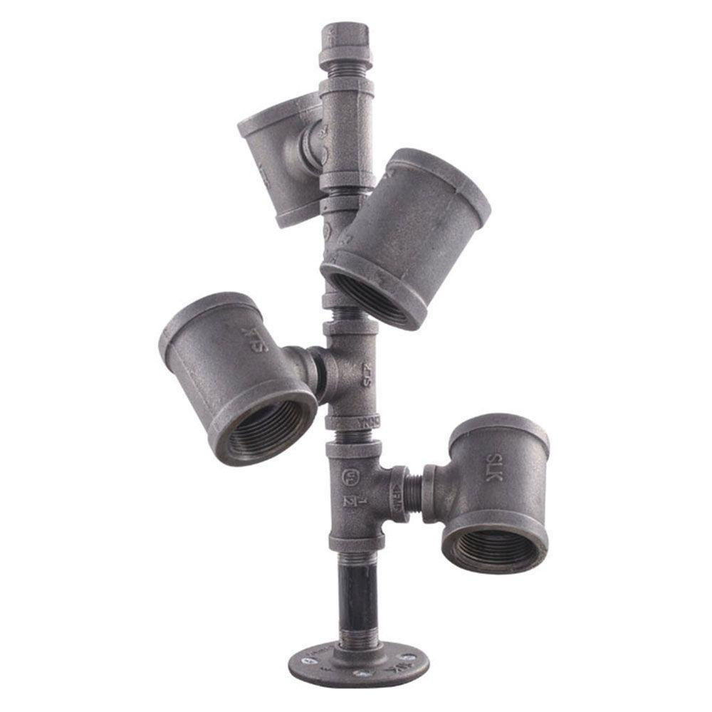 LDR Industries Wine Rack Kit in Industrial Steel Grey Pipe