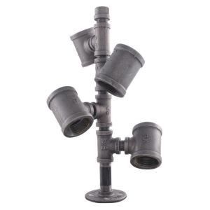 LDR Industries Pipe Decor Black Iron Pipe Wine Rack Kit Industrial Steel Grey by LDR Industries