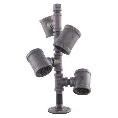 Pipe Decor Black Iron Pipe Wine Rack Kit Industrial Steel Grey