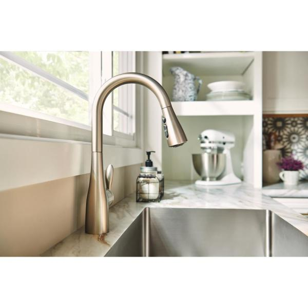 Moen Arbor Single Handle Pull Down Sprayer Kitchen Faucet With Power Boost In Spot Resist Stainless 7594srs The Home Depot