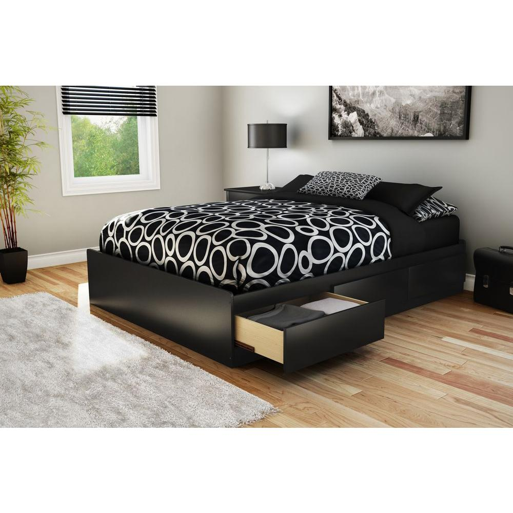South S Step One 3 Drawer Full Size Storage Bed In Pure Black