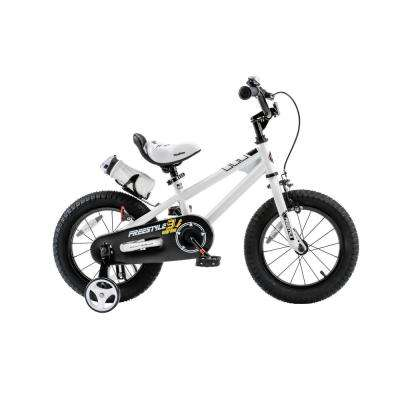 Freestyle BMX Kid's Bike, Boy's Bikes and Girl's Bikes with Training Wheels, 14 in. Wheels in White