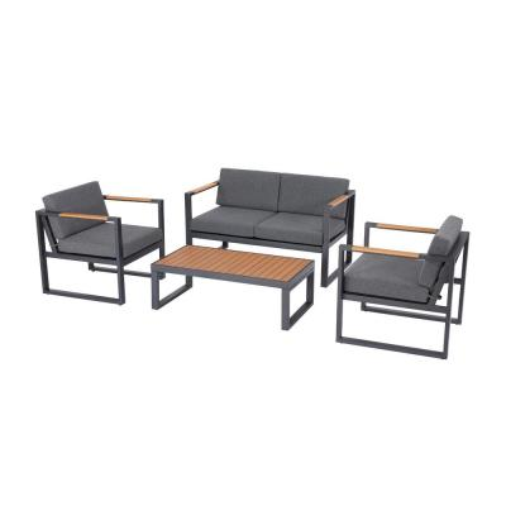 Pinnacle Park 4-Piece Metal Patio Conversation Set with Graphite Cushions