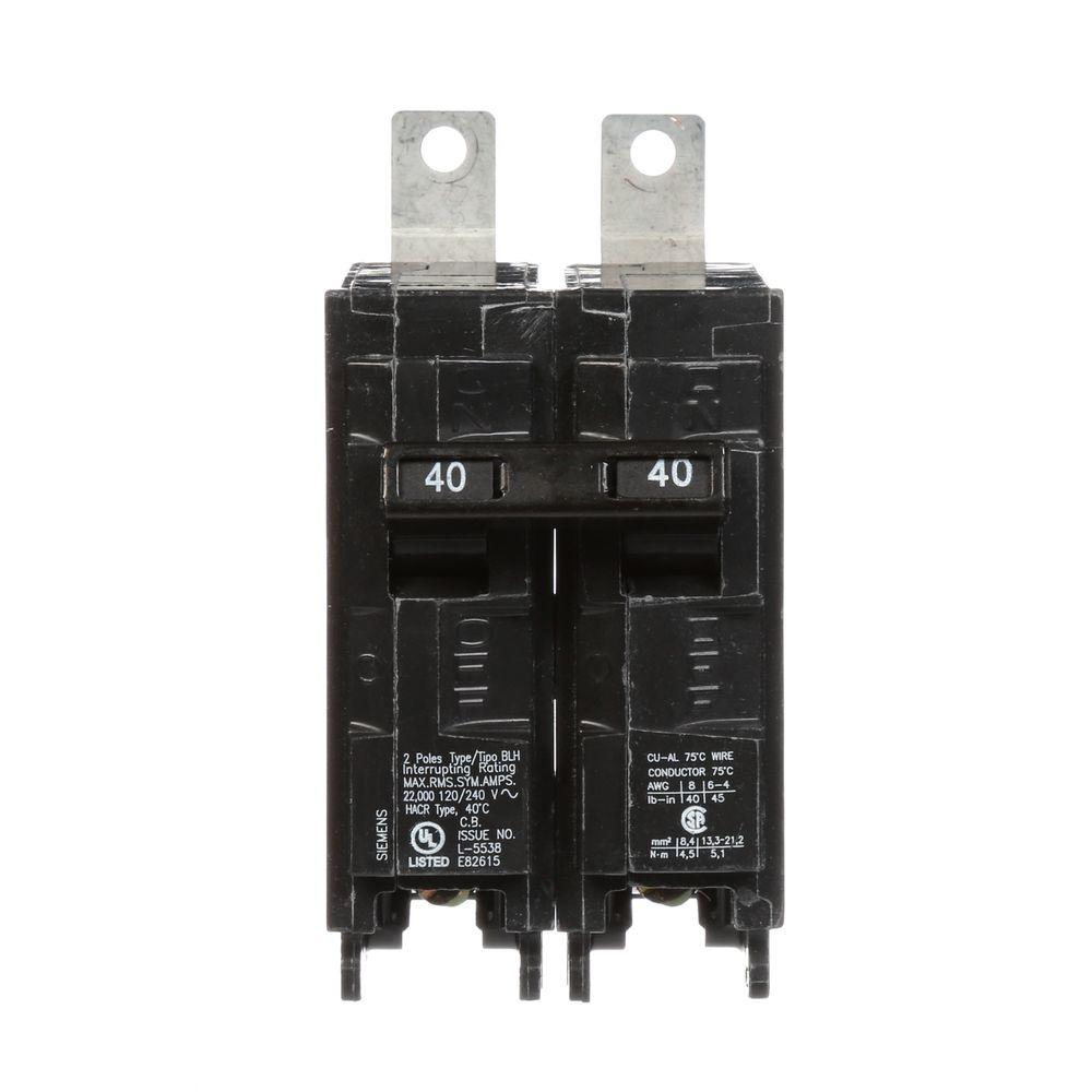Siemens 40 Amp Double-Pole Type BLH 22 kA Bolt-On Circuit Breaker ...