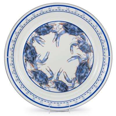 Blue Crab 20 in. Enamelware Serving Tray