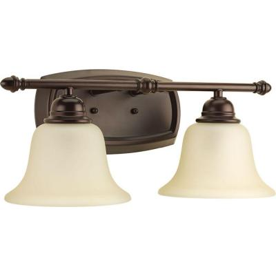 Spirit Collection 2-Light Antique Bronze Bathroom Vanity Light with Glass Shades
