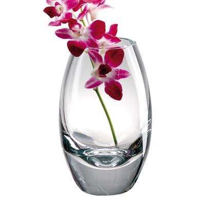 9 in. Clear European Mouth Blown Crystal Radiant Decorative Vase