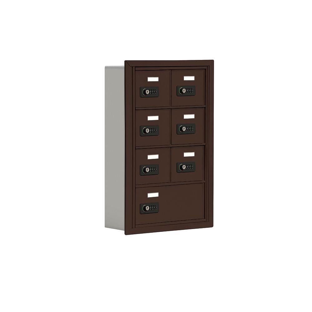 19000 Series 17.5 in. W x 25.5 in. H x 5.75 in. D 6 A / 1 B Doors R-Mount Resettable Locks Cell Phone Locker in Bronze