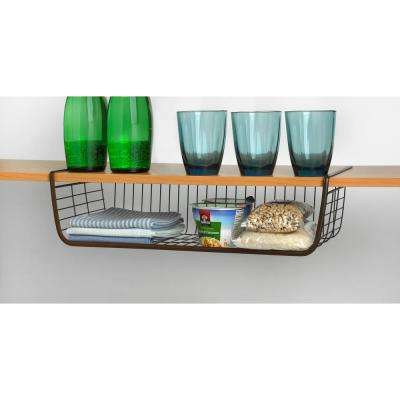 Ashley 5.75 in. x 21 in. x 10.25 in. Steel Large Over the Shelf Basket in Bronze
