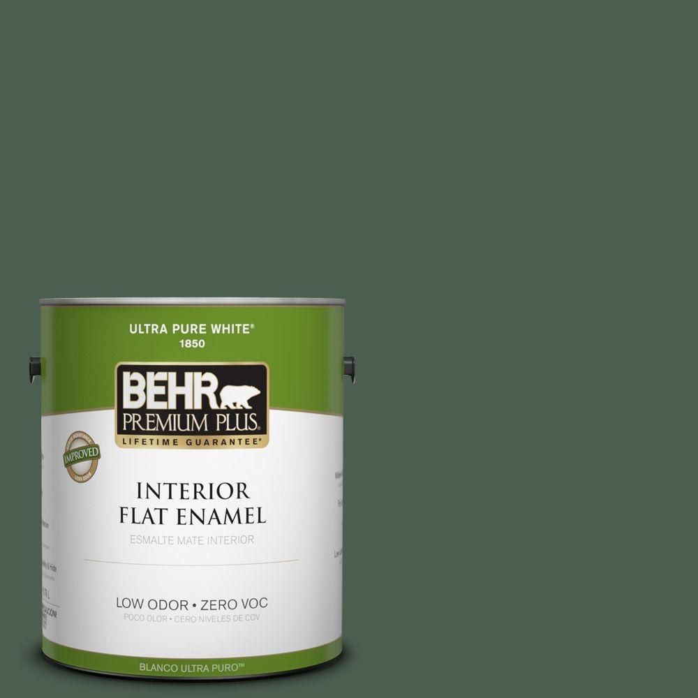 BEHR Premium Plus 1-gal. #450F-7 Hampton Green Zero VOC Flat Enamel Interior Paint-DISCONTINUED