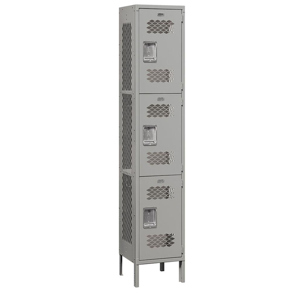 Salsbury Industries 83000 Series 15 in. W x 78 in. H x 15 in. D 3-Tier Extra Wide Vented Metal Locker Unassembled in Gray