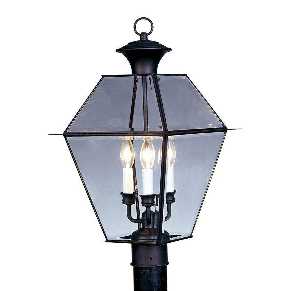 Livex lighting 3 light outdoor black post head with clear beveled livex lighting 3 light outdoor black post head with clear beveled glass aloadofball Images
