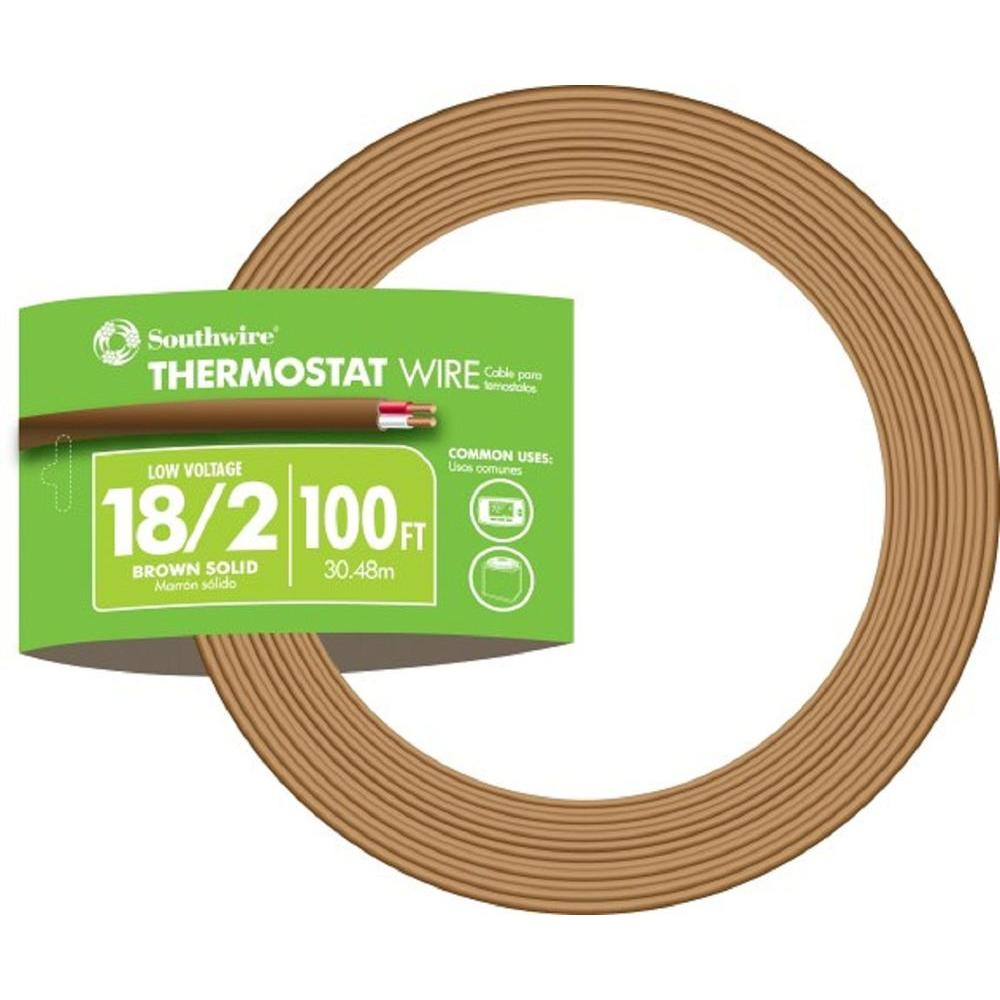 Southwire 100 ft. 18/2 Brown Solid CU CL2 Thermostat Wire