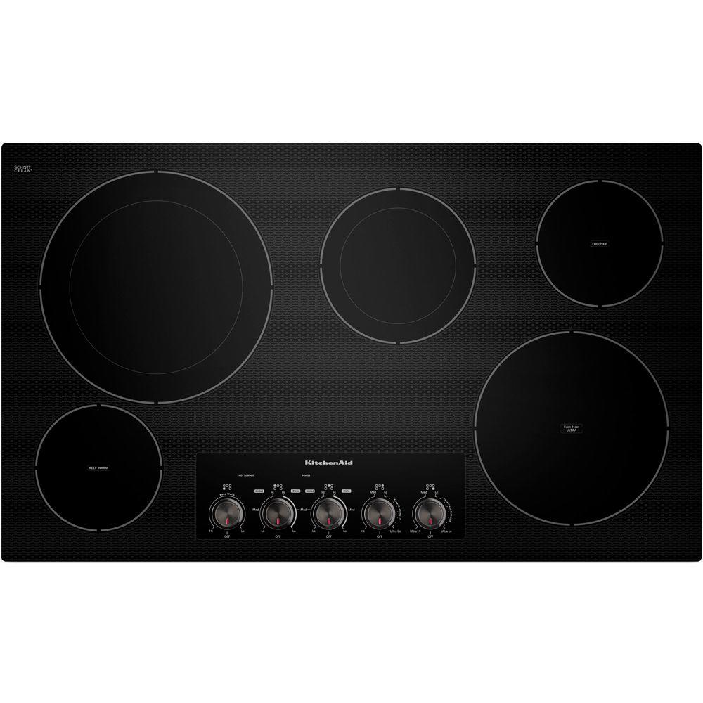 Ceramic Glass Electric Cooktop In Black With 5 Elements Including Double