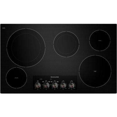 36 in. Ceramic Glass Electric Cooktop in Black with 5 Elements including Double-Ring and Warming Elements